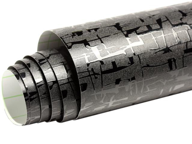 Matt-Glitzer Schwarze Carbon Folie 152 cm x 200 cm mit Luftkanäle 2288