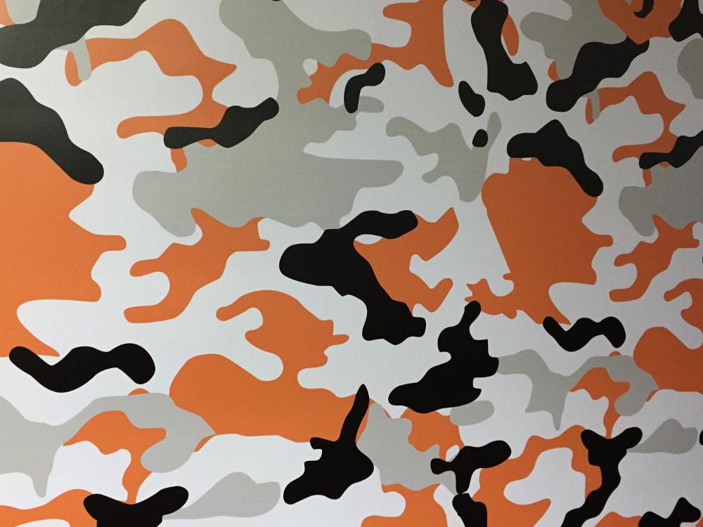 Camouflage Autofolie 15 x 1.52 meter Luftkanäle Schwarz Grau Orange Weiß #9