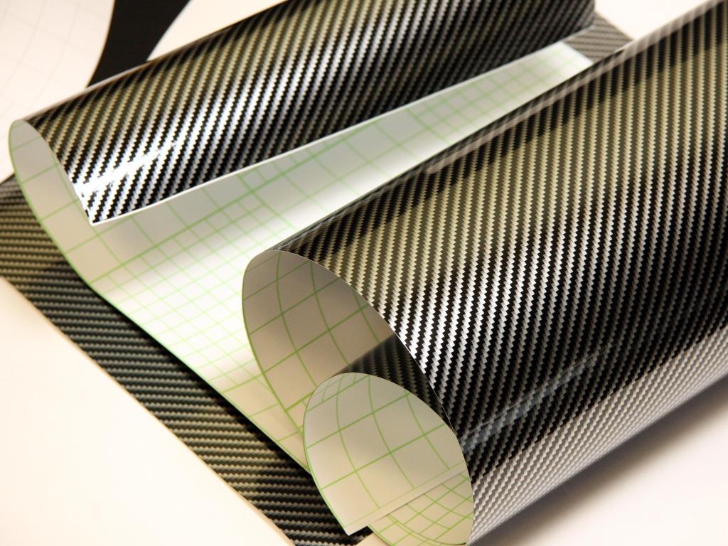 2D Carbon Folie GOLD 152 cm x 50 cm Autofolie hochglänzend mit Luftkanäle
