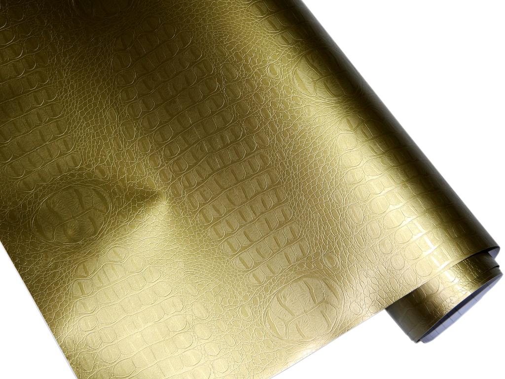 Krokodil Haut Folie 100cm x 152cm crocodile Optik Gold Luftkanäle