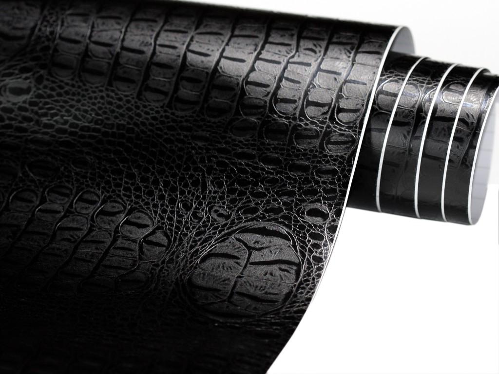 Luftkanäle Krokodil Haut Folie 300cm x 152cm crocodile Optik Schwarz